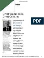 Great Teams Build Great Cultures