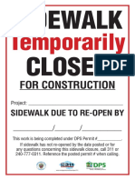 Sidewalk Temporarily Closed%2c 12x18