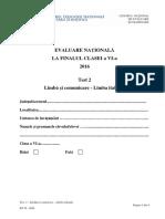 Evaluarea Nationala, cls VI, 2016 - Test 2 Limba si Comunicare Italiana