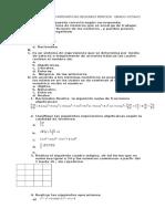 Cuestionario de Matemáticas Segundo Periodo Grado Octavo 2016