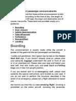 Announcements for Flight Attendatns