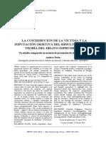 La contribución de la víctima y la Imputación Objetiva del resultado en la teoría del delito imprudente. Un estudio comparado en materia de prevención de riesgos laborales    Tesseract - Cualificación en Ciencias Penales