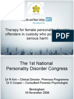 Therapy for female personality disorder offenders in custody who pose a risk of serious harm