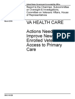 GAO--Actions Needed to Improve Newly Enrolled Veterans Access to Primary Care