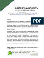 DISEÑO E IMPLEMENTACION DE PROGRAMA DE CONTROL DE PERDIDAS DE AGUA EN EL SISTEMA DE SUMINISTRO DE AGUA DE VILLA HUIDOBRO