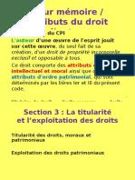 5- P1 Le Droit Dauteur Et Lédition - Chap.2 Les Attributs - Sect. 3 Le(s) Titulaire(s) Des Droits