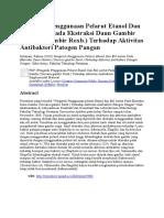 Pengaruh Penggunaan Pelarut Etanol Dan Etil Asetat Pada Ekstraksi Daun Gambir