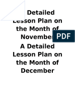 A Detailed Lesson Plan on the Month of November