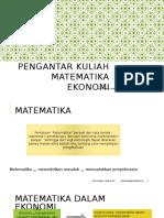 Pert 1.1 Pengantar Matematika Ekonomi