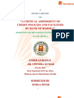 A CRITICAL ASSESSMENT OF CREDIT POLICIES AND FACILITIES BY BANK OF BARODA