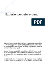 Experience Before Death