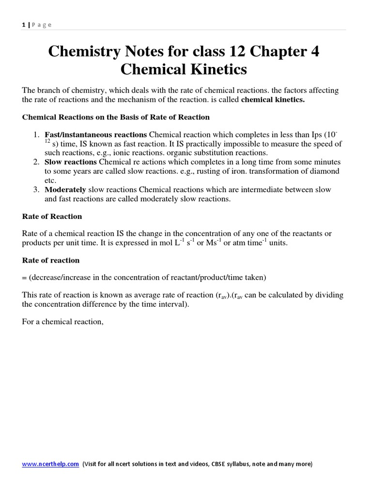 Chemistry Notes for Class 12 Chapter 4 Chemical Kinetics