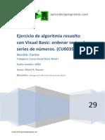 Ejercicio Algoritmia Resuelto Visual Basic Ordenar Series Numeros