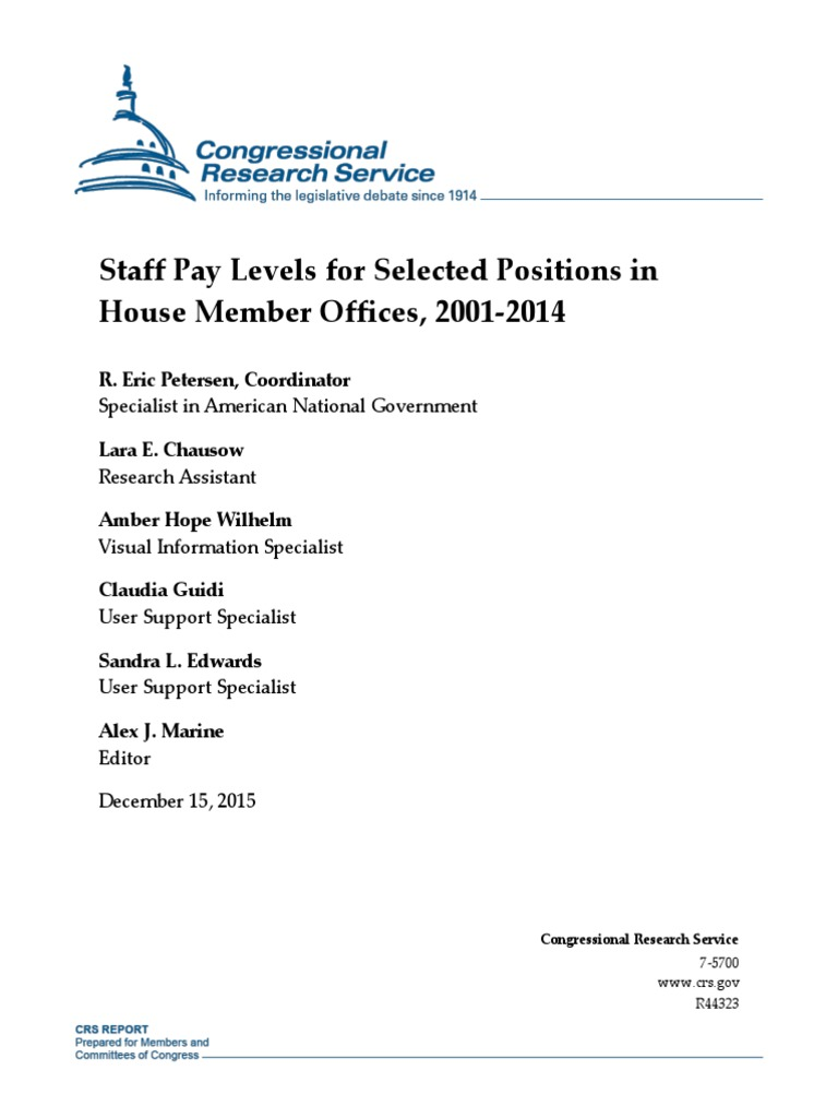 Congressional Research Service House Staff Pay 2001