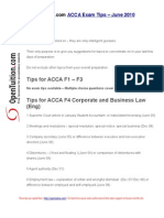ACCA Exam Tips June 2010 OpenTuition.com