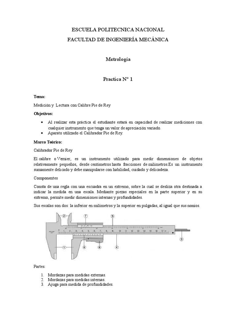 METROLOGÍA ( USO Y MEDICIÓN CON EL CALIBRADOR PIE DE REY) INFORME ...