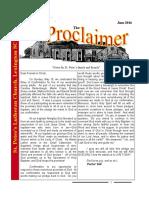 June 2016 Proclaimer
