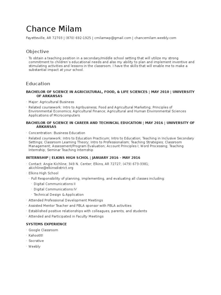 resume | Classroom | Internship