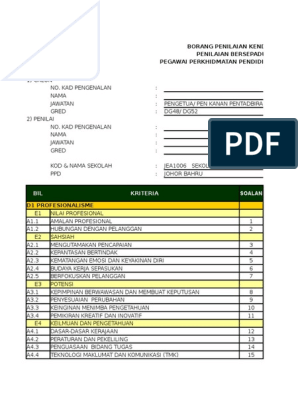 Borang Penilaian Kendiri Pbppp 2016 1 2 Xls Xlsx
