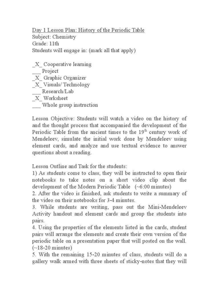 Day 1 lesson plan lesson plan periodic table urtaz Images