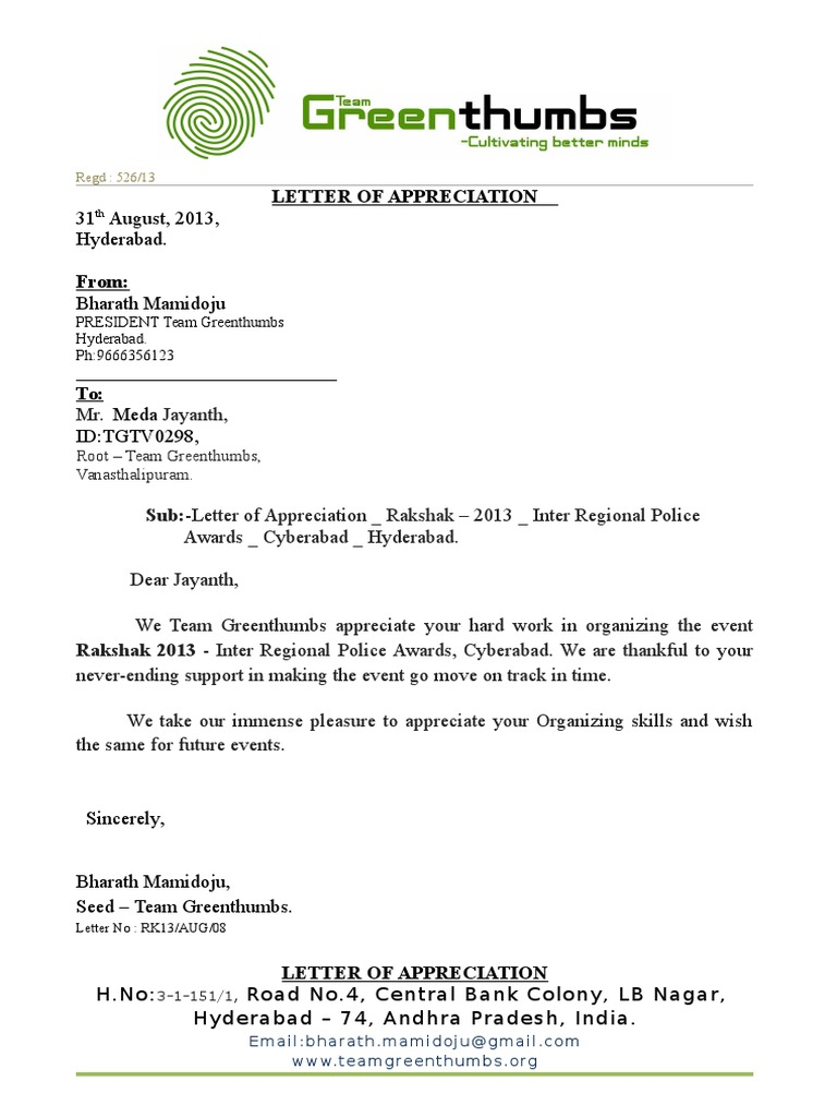 letter of appreciation ngo