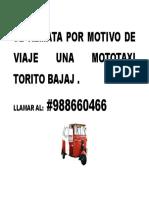 Se Remata Por Motivo de Viaje Una Mototaxi Torito Bajaj