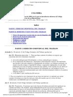 Colombia. Código Del Trabajo