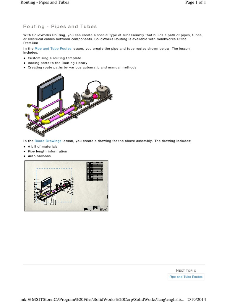 routing pipes and tubes software system software rh scribd com SolidWorks Hydraulic Routing solidworks routing training manual pdf