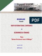 Ibs Bangalore Presents Ninth International Conference on Economics and Finance