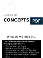 Question 1B - How and What to Revise - Concepts