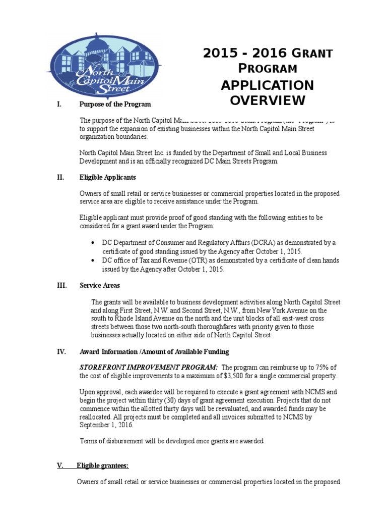 North Capitol Main Street Grant Application 2015 2016 Public Key