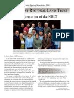 North Coast Regional Land Trust Newsletter, Spring 2003