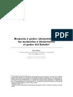 2011 E. BLAIR, Memoria y poder, (des) estatizar las memorias y (des)centrar el poder del E.pdf