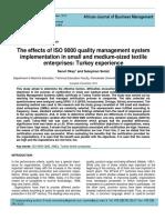 Efectos de la implementacion de un sistema de calidad