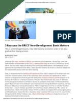 3 Reasons the BRICS' New Development Bank Matters _ the Diplomat