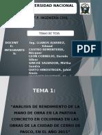ANALISIS DE RENDIMIENTO Y HELADA EN PAVIMETOS