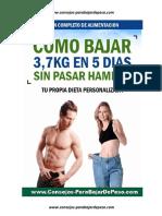 Como bajar 3,7 kilos en 5 días sin pasar hambre - Dieta para mujer de 91 kg hasta 125kg