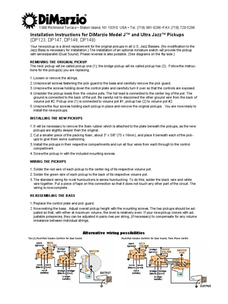 dimarzio dual sound wiring diagram dimarzio model j    and ultra jazz bass guitar electrical wiring  dimarzio model j    and ultra jazz