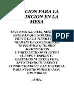 Oracion Ante La Mesa-comidas