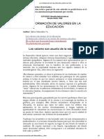 LA FORMACIÓN DE VALORES EN LA EDUCACIÓN.