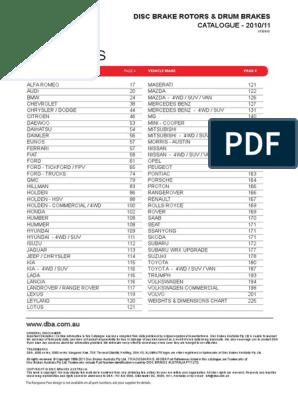 2 x DBA Standard Rotor FOR HOLDEN COMMODORE VK DBA016