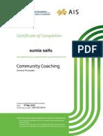 certificate for sumia saifu in community coaching general principles