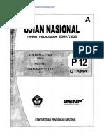 Naskah Soal UN Matematika IPA SMA 2010 (Paket 12)