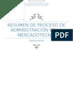 Resumen de Proceso de Administración en La Mercadotecnia