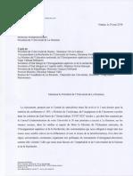 Lettre Au Président de l'Université de La Réunion, 24 Mai 2016