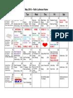 Nursing Home Activity Calendar May 2016 at Faith Lutheran Home
