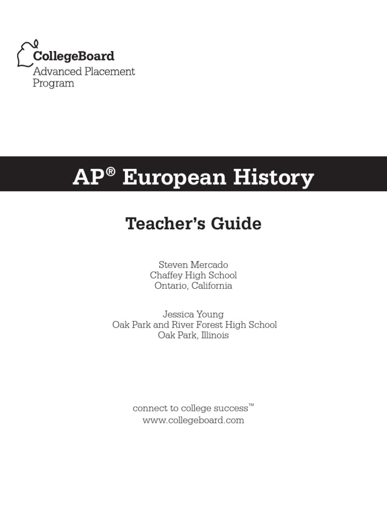 European History Teachers Guide Advanced Placement
