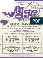 Wedge Pizza Iowa City Menu