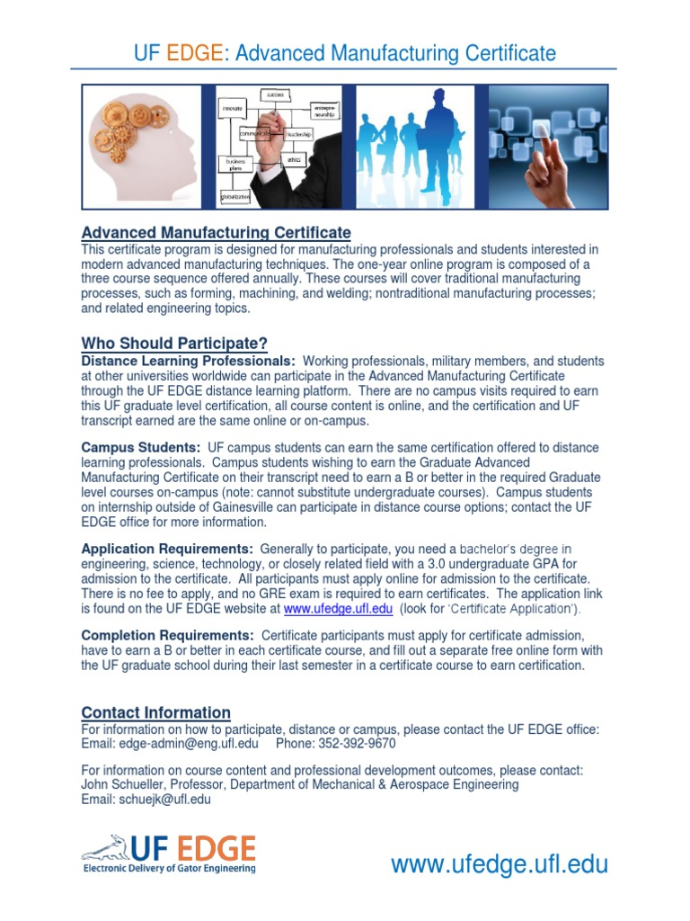 Brochure-Advanced Manufacturing Certificate | University And