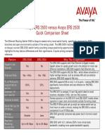 Avaya ERS 3500 Versus Avaya ERS 2500 - Quick Comparison Sheet